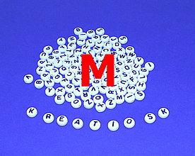 Korálky - M - Akrylové písmenko, biele - 5308640_