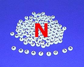 Korálky - N - Akrylové písmenko, biele - 5308641_