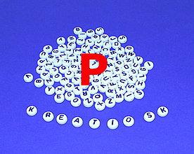Korálky - P - Akrylové písmenko, biele - 5308654_
