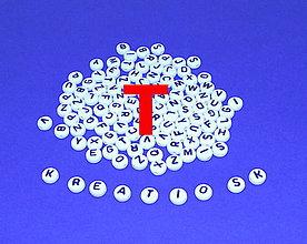Korálky - T - Akrylové písmenko, biele - 5308677_