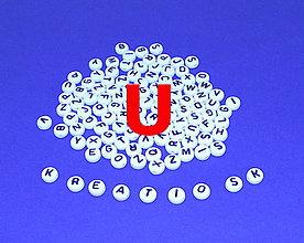 Korálky - U - Akrylové písmenko, biele - 5308679_