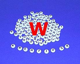 Korálky - W - Akrylové písmenko, biele - 5308703_