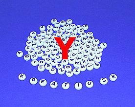 Korálky - Y - Akrylové písmenko, biele - 5308708_