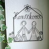 Tabuľky - rodina - svadobný darček- menovka, domček - 5312115_