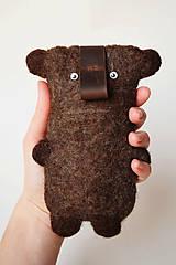 Na mobil - Plstené puzdro na mobil - medveď - 5312024_