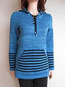 Mikiny - Pletená mikina - modrý melír - 5319431_