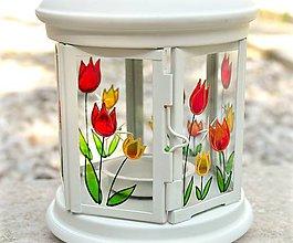 Svietidlá a sviečky - Maľovaný lampáš - Pán Tulipán - 5318512_