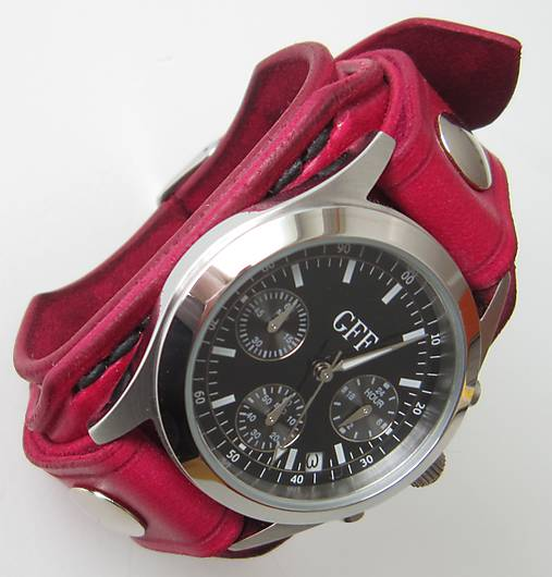 953e8ba2f Dámske červené hodinky s koženým náramkom / leon - SAShE.sk ...