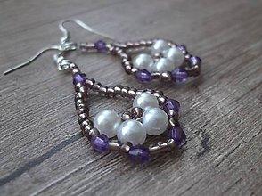 Náušnice - Korálkové náušnice fialové - 5319128_