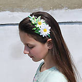 Ozdoby do vlasov - Margarétková čelenka s motýlikom - 5323782_