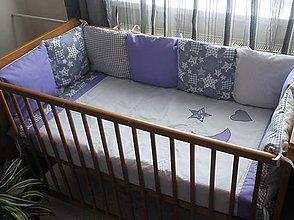 Textil - súprava do postieľky,,Šedo-fialová,, - 5325595_