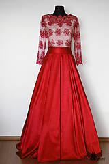 Šaty - Spoločenská róba so skladanou sukňou - 5324585_