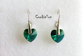 Náušnice - Náušnice Swarovski Heart Emerald AB - 5324411_