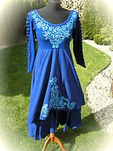 Šaty - Tyrkysová maľba na tmavomodrých šatách.. - 5326053_