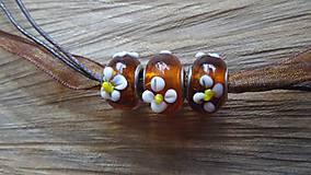 Náhrdelníky - hnedý náhrdelník s pandora korálkami - 5327007_