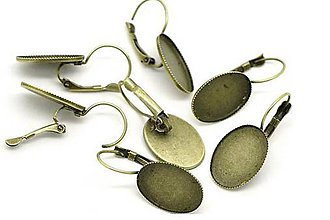 Komponenty - NAUŠNICOVÝ háčik bronz 13x18m/pár - 5334089_