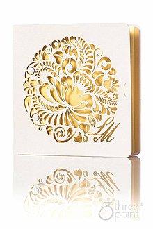 Papiernictvo - Magický kvet - svadobné oznámenia zlaté - 5335695_