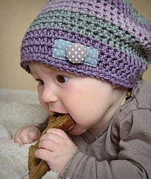 Detské čiapky - Čepička pruhovaná fialovo šedá - 5334513_