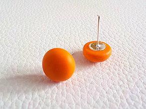 Náušnice - farebné ďobky-napichovačky (oranžová) - 5337571_