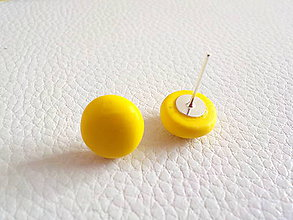 Náušnice - farebné ďobky-napichovačky (žltá) - 5337616_