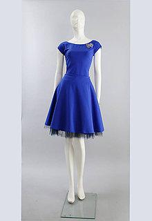 Šaty - Šaty modré s pol kruhovou sukňou... - 5339428_