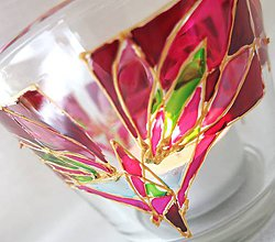 Svietidlá a sviečky - Rozkvitaj - na ružovo - maľovaný sklenený svietniček - 5344352_