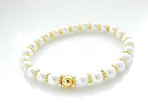Náramky - Elastický náramok - Gold & Swarovski pearl - 5343670_