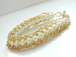 Náramky - Dvojstranný náramok - zlatom obšívané perly - 5343864_