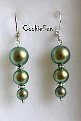 Náušnice - Triple Pearls Iridescent Green - 5344749_