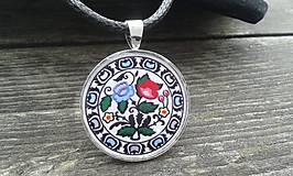Náhrdelníky - folkové maľované ružičky - prívesok - 5342977_