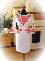 Šaty - Maľované červené ornamenty na bielych šatách... - 5345393_