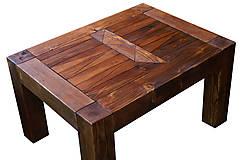 Nábytok - Masívný stôl s drevenou mozaikou - 5343654_