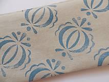 Taštičky - Ľanový peračník s cibuľkovou potlačou - svetlomodrý - 5350529_