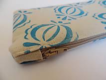 Taštičky - Ľanový peračník s cibuľkovou potlačou - modrý - 5350575_
