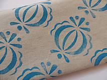 Taštičky - Ľanový peračník s cibuľkovou potlačou - modrý - 5350584_