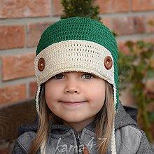 Detské čiapky - Prechodná... letecká VIII. zeleň - 5350772_
