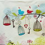 - S361 - Servítky - vtáčiky, klietka - 5352064_