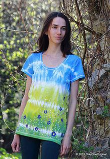 Tričká - Dámske tričko batikované a maľované POLIANKA - 5352200_