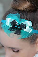 Ozdoby do vlasov - tyrkysovo-ľadová s čiernou mašlou - 5354176_