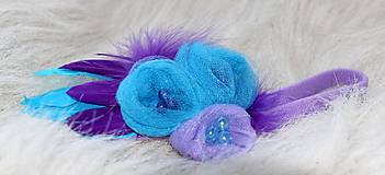 Ozdoby do vlasov - tyrkysovo- fialová s perím - 5354775_