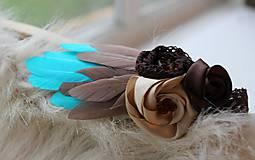 Ozdoby do vlasov - tyrkysovo- hnedá s perím - 5354809_