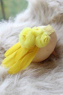 Ozdoby do vlasov - žltá s perím - 5354848_