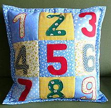 Textil - modrý vankúš - učíme sa čísla - 5353706_