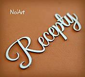 Papierový nápis Recepty