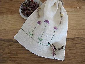 Úžitkový textil - Vrecko na bylinky- echinacea - 5357486_