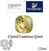 Korálky - SWAROVSKI® ELEMENTS 4470 Square Rhinestone - Crystal Luminous Green, 12mm, bal.1ks - 5356387_