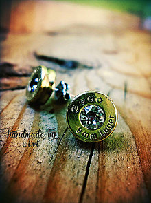 Náušnice - ...strelené Luger 9mm...diamond X - 5359434_