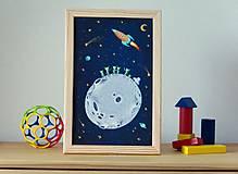 Grafika - Vesmír - ilustrácia v drevenom ráme - 5358785_
