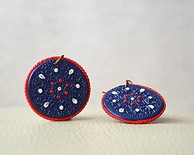 Náušnice - Folk ornament - červený lem - 5361074_