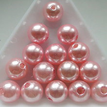 Korálky - GLANCE plast 10mm-10ks (sv.ružová) - 5363997_